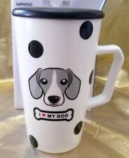 "Miniso Dog Ceramic Mug With Ceramic Lid & Stirring Spoon ""I Love My Dog"" Nib"