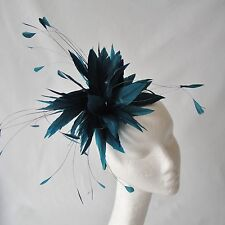Teal Feather Fascinator for Weddings, Races and Proms