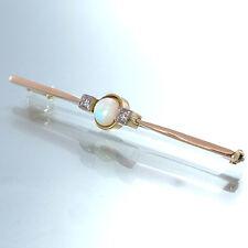 ANSTECKNADEL - 2 Diamanten ca. 0,06 ct + 1 Opal in 14K/585 Gelbgold - 4,2 g
