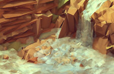 Enmarcado impresión-Polígono Cascada (Imagen Cartel computadora Obra De Arte Arte Digital)