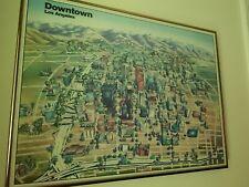 Vintage 1984 Framed Downtown La Map by Unique Media