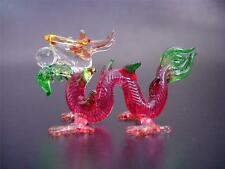 Glass DRAGON, SERPENT, Pinky Red & Green Decorative Glass Ornament Pretty Gift