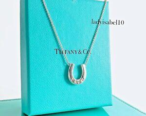 "Tiffany & Co Sterling Silver 1837 16"" Horse Shoe Horseshoe Pendant Necklace 216B"