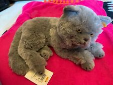 Mizzi Vintage Beautiful Silky Grey Steiff Cat With Button And Tags (2005)