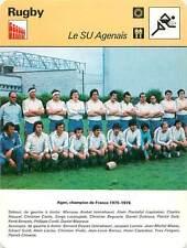 FICHE CARD: Photo Equipe SU Agen Champion de France 1975-1976  RUGBY à XV 1970s