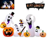 8' Inflatable Pumpkin Ghost Blow Up Holiday Outdoor Yard Light Up Halloween Deco