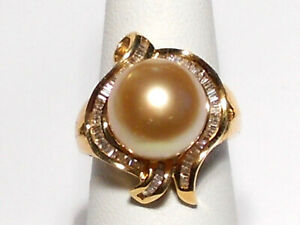 11mm South Sea golden pearl ring, diamonds, solid 14k yellow gold.