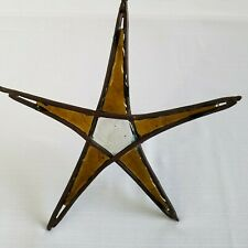 """Rustic Country 12.5"""" Large Stained Glass Star Suncatcher Amber Brown Glass"""