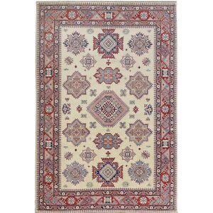 """6'4""""x9'5"""" Ivory Special Kazak Geometric Design Pure Wool Hand Knotted Rug R57091"""
