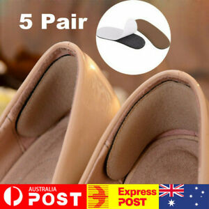 5 Pairs Sticky Fabric Shoe Pads Cushion Liner Grips Back Heel Inserts Insoles AU