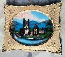 """Early Antique Reverse Painting on Glass """"THE CASTLE BY THE SEA"""" Wood Frame"""