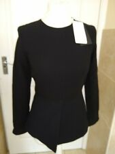 Zara Black Blouse with white cuffs Size S Small Bnwt