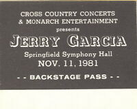 JERRY GARCIA 1981 TOUR BACKSTAGE PASS SPRINGFIELD SYMPHONY HALL / GRATEFUL DEAD