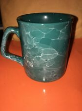 Coffee Tea Mug Cup Green Agate Black Marble No Stains Or Cracks Clean