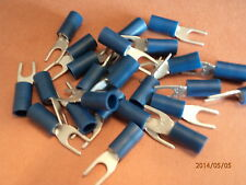 4mm  BLUE  INSULATED FORK/SPADE CRIMP TERMINAL  QTY=100