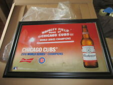 Budweiser Beer Sign New Mirror Mlb Baseball Chicago Cubs Bar Game Room Pub