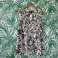 Anthropologie Maeve Black White Floral Button Down Tank Women's Size Medium