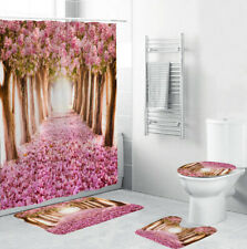 Red Floral Shower Curtain Bathroom Rugs Thick Bath Mat Non-Slip Toilet Lid Cover