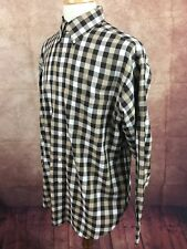 Roundtree & Yorke Easy Care Button Down Long Sleeve Brown Check Shirt Men's L