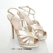 NICHOLAS KIRKWOOD $995 metallic gold fused lace heels platform shoes 39.5 NEW