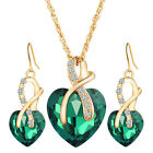 Fashion Women Charm Gold Plated Crystal Heart Necklace Earrings Jewellery Set