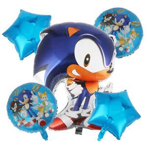 5PC Large BLUE Sonic the Hedgehog Balloons Kit Happy Birthday Party Decor UK