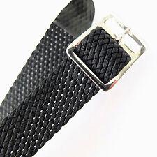 16mm Darlena Negro Tejido/Perlon tela de una sola pieza Correa de Reloj, hebilla de plata