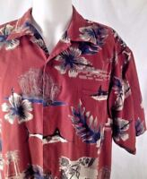 Hawaiian Shirt Men XL Aftco Bluewater Matched Pocket Swordfish Tropical Flowers