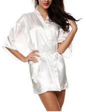 Womens Plain Faux Silk Satin Kimono Dressing Gown Bridal Bridesmaid_Wedding_Robe