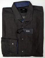 NWT $165 Hugo Boss Slim Fit Gray Shirt Mens XL Ridley _2 Long Sleeve NEW Grey
