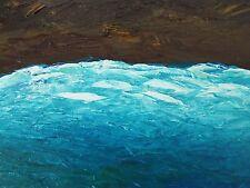 "MIAMI OCEAN TIDE Original Palette Knife Oil Sea Painting 9""x12"" Julia Garcia Art"