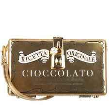 DOLCE & GABBANA Metallic Cioccolato Box Leder Clutch Tasche DOLCE BOX Gold 08307