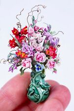 Dollhouse Miniatures Hand Made Sandra Wall Pink & Red Flower Arrangement in Vase