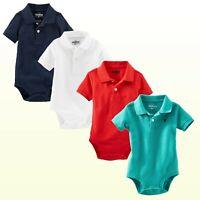 Baby Boys Oshkosh B'gosh SS Pique Polo Bodysuit New Red Navy White Turquoise