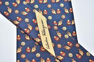 """Salvatore Ferragamo MEN'S TIE BLUE, RED & GOLD/BIRD PATTERN W: 3.7/8"""" L: 58"""""""