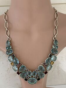 Solid Silver Faceted Blue, Purple, Yellow & Red Stone Large Pendant Necklace