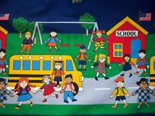 FABRIC TRADITIONS SCHOOLHOUSE BUS SWINGS BORDER 100% COTTON FABRIC