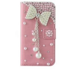 Handmade Bling Magnetic Diamond PU leather flip slots wallet Phone cover case H
