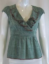 ANTHROPOLOGIE ODILLE Urban Outfitters Green Striped Ruffled Blouse Top Sz 0