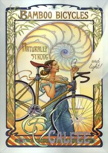 Bamboo Bicycles | By Mona Caron | Vintage Poster | A1, A2, A3