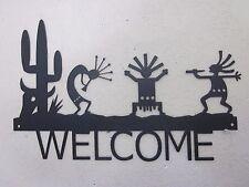 KOKOPELLI WELCOME SIGN STEEL TEXTURED BLACK POWDER COAT FINISH