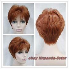 wigs rouge marron court droit Cosplay perruque de cheveux
