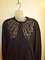 Size 42 Vintage 1950's Hand Beaded Sweater Cardigan Black Sequined Angora CHIC