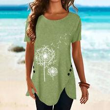 Womens Summer Dandelion T Shirt Blouse Ladies Casual Short Sleeve Tops Plus Size