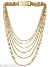 MICHAEL KORS GOLD MULTI STRAND CHAIN LINK LOGO BAR HINGE NECKLACE MKJ2920-$249.9