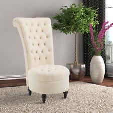 """HOMCOM 45"""" Tufted High Back Velvet Accent Chair Living Room Soft Padded Cream"""