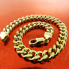FSA670 GENUINE REAL 18K  YELLOW G/F GOLD SOLID MENS CURB CUFF BRACELET BANGLE