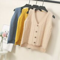 Women Cable Knit Cardigan Sweater Jumper Vest Tank Top Waistcoat Preppy Apricot