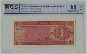 PCGS 68 Netherlands Antilles 1970 Banknote 1 Gulden OPQ