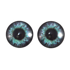 Pair of 20mm Teal and Purple Steampunk Clock Glass Eyes Cabochons Set